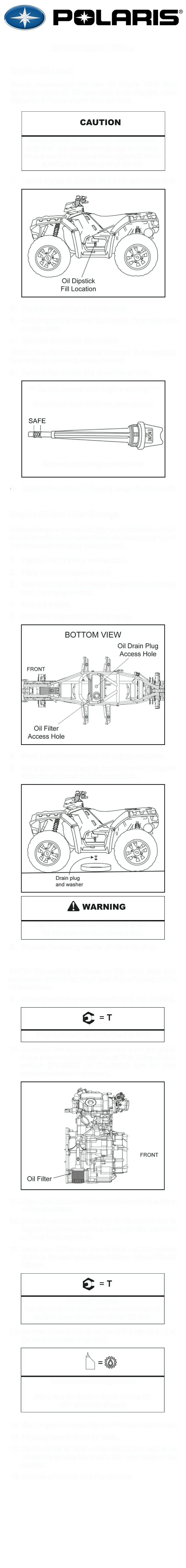 Polaris Sportsman 550cc Oil Change